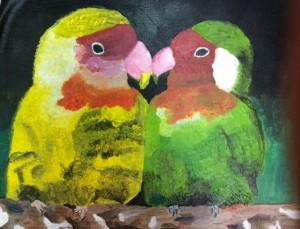 Yuna Sato, Love Birds, Acrylic, Heritage Academy